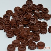 Interior Bricks LEGO Bulk Parts: Plate Round 1 x 1 Straight Side - REDDISH BROWN