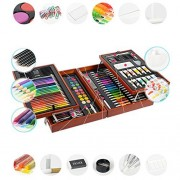 GaGa 197 Piece Deluxe Art Supplies Set for Kids with watercolor pens, crayons, colored pencils, oil pastels, watercolor cakes, pencils, painting brushes, white glue, glitter glues, palette