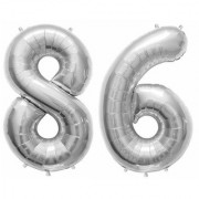 Stylewell Solid Silver Color 2 Digit Number (86) 3d Foil Balloon for Birthday Celebration Anniversary Parties