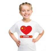 Bellatio Decorations I love China t-shirt wit kinderen S (122-128) - Feestshirts