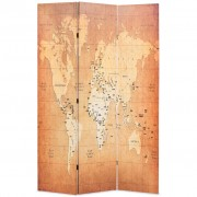 vidaXL Сгъваем параван за стая, 120x170 см, карта на света, жълт