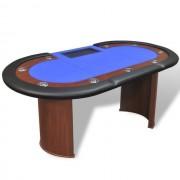 Masă Poker 10 persoane, zonă dealer și suport jetoane, albastru