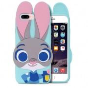 Husa iPhone 7 Plus si iPhone 8 Plus Silicon 3D Urechi Iepuras Green