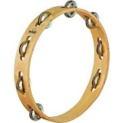 Nino Percussion NINO14 10-Inch Wood Tambourine with Steel Jingles 1 Row Natural Finish