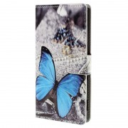 Sony Xperia M5, M5 Dual Stylish Wallet Case - Blue Butterfly