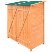 vidaXL Дървена градинска барака за инструменти с навес