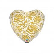 Balon folie inima cu trandafiri aurii, qualatex, 55 cm, 81664