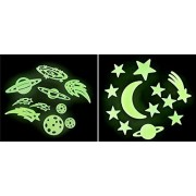 Glow in The Dark Space Bundle: One Planets and Stars Pack and one Moon, Stars, Planets Pack by Adventure Planet