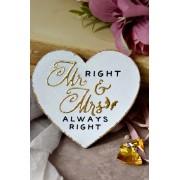 Inimioara magnet decorata cu auriu - Mr Right & Mrs Always Right