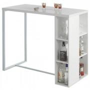 IDIMEX Table haute de bar IBIZA, blanc mat
