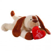 White and Brown 18 Inch Sleeping Dog with Red Love You Heart