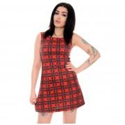 rochie femei 3RDAND56th - 60s retro - roșu / soldat scoțian - JM1284