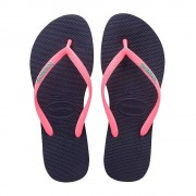 Havaianas Slim Logo Pop Up Flip Flops Black Coral Size 3-4