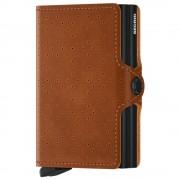 Secrid Porta Carte Doppio Scomparto con Clip linea Perforated in Pelle Color Cognac con RFID