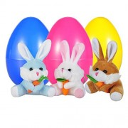 Reusable Easter Eggs Filled with Rabbits, Easter Bunny Plush, Bunny Rabbit, 4'' big Bunny Rabbit, White, Blue, Brown 3 colors, 3 pack (3 colors)