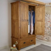 Oak Furnitureland Rustic Solid Oak Wardrobes - Double Wardrobe - Original Rustic Range - Oak Furnitureland