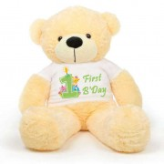 Peach 5 feet Big Teddy Bear wearing a First Happy Birthday T-shirt