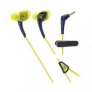 "Слушалки Audio-Technica ATH-SPORT2, тип ""тапи"", ІРХ5 водоустойчивост, 1.2м асиметричен кабел, жълти-сини"