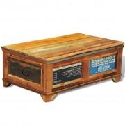 vidaXL Mesa de centro vintage com armazenamento, madeira reciclada