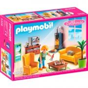 Dollhouse - Woonkamer met houtkachel
