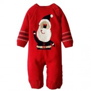 Baby Warm Thick Romper Newborn Boys Girls Sweater Christmas Deer Plush Outerwear (Red, 6-12M)