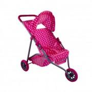 Babakocsi 3 kerekű rózsaszín pöttyös mintával, 50 cm
