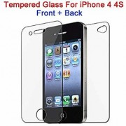 0.3 Mm Nano Technology German Schott Glass Front Back Tempered Glass Screen Protector Guard For Apple iPhone 4/4S By RSC POWER+