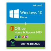 Windows 10 Home + Microsoft Office Home & Student 2013 Bundle Digital Licences