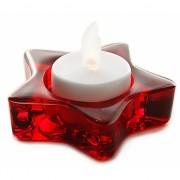 Rode glazen ster theelichtjeshouder 8 cm