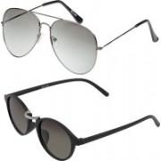 Vast Aviator, Round Sunglasses(Grey, Silver)