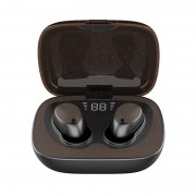 ES02 TWS Bluetooth 5.0 Earphones with OLED Screen Wireless HiFi Headset with Charging Box - Leather Plate