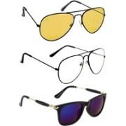 Criba Wayfarer, Aviator Sunglasses(Yellow, Clear, Multicolor)
