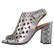 Sandale piele naturala dama - argintiu, Dogati shoes - toc inalt - 672-578-Argintiu