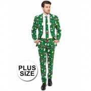 Geen Grote maat heren kostuum groen met kerst print