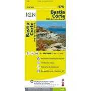 Fietskaart - Wegenkaart - landkaart 175 Bastia - Corte - Calvi - Corse du Nord - Corsica | IGN