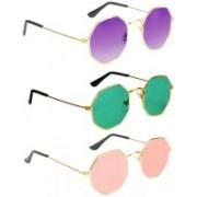 Briota Retro Square Sunglasses(Violet, Green, Pink)