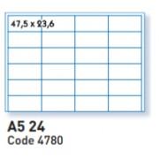 ATB 4780 étiquettes A5 24 en planche dim 47.5x23.6mm