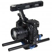Puluz Manejar Video Camara Jaula Steadicam Estabilizador Para Sony A7 Y 7 Y A7r Y A7r Ii Y 7 Ii, Panasonic Lumix Dmc - Dmc-gh4 (azul)