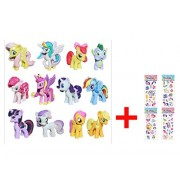 Fun for Life - 12 piece Set My Little Pony Toys Figurines Playset Multi with ONE random My Little Pony Sticker Gift