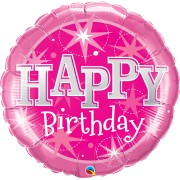 Pink 'Happy Birthday' Sparkle Super Shape Foil Balloon