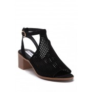 Steve Madden Barlow Open Toe Perforated Suede Sandal BLACK SUED