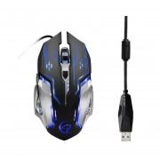 EY Exquisita apariencia colorida con cable 3200dpi Laptop Notebook Optical Mouse-Negro y gris