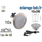 Kit 10 spots LED encastrables Mur et Sol 30w blanc naturel 12v ref sms-01