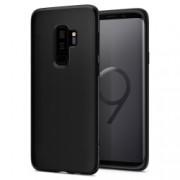 Pachet Samsung Galaxy S9 Plus G965 Husa SPIGEN Silicon Liquid Crystal Negru + Folie Sticla securizata 3D Full Cover Negru