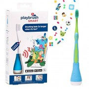 Playbrush Kids toothbrush attachment that transforms manual toothbrushes into mobile game controllers via Bluetooth, encouraging kids to brush in a fun way, Blue