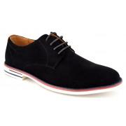 Pantofi barbatesti negri cu talpa alba uni