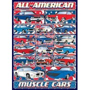 Muscle Cars Jigsaw Puzzle - 1000 Piece - Classic, Old & All-American Car Puzzle Set with Patriotic Design for Adults - Made in USA by Hennessy Puzzles