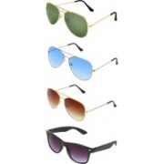 Abner Aviator, Wayfarer Sunglasses(Green, Blue, Brown, Black)