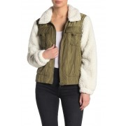 BLANKNYC Denim Faux Shearling Sleeve Bomber Jacket TAKE IT EASY