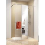 Schulte Home Paroi de douche fixe à l'italienne Walk In avec 3 parois, Concept PRO, 160 cm, verre transparent + miroir, anticalcaire, version droite